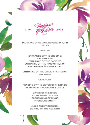 Fresh Cut Flowers Wedding Programs