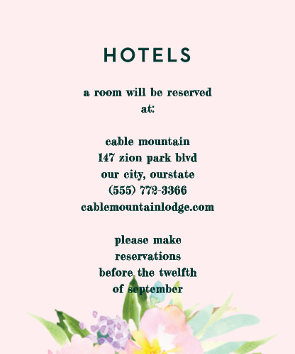 Citrus Flowers Accommodation Cards