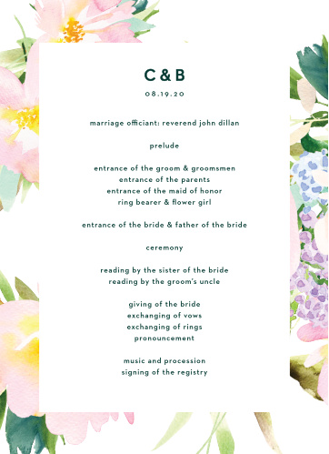 Citrus Flowers Wedding Programs