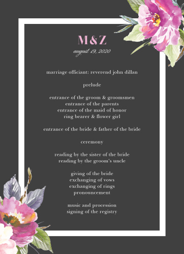 Luxe Roses Wedding Programs