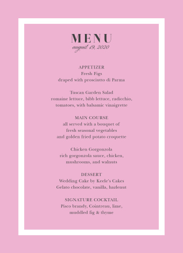 Luxe Roses Wedding Menus