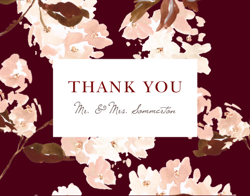 Autumn Aubergine Wedding Thank You Cards