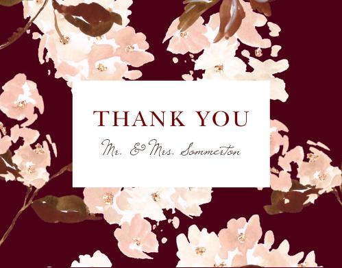 Autumn Aubergine Wedding Thank You Cards