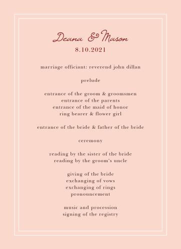 Autumn Aubergine Wedding Programs