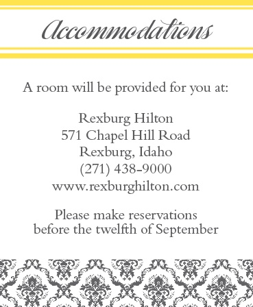 The Elegantly Modern Accommodation Cards