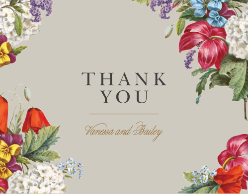 Antique Flowers Wedding Thank You Cards