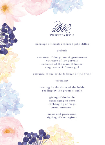 Pastel Watercolors Wedding Programs