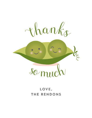 Twin Peas Baby Shower Thank You Cards
