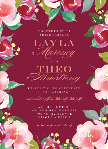Maroon Bouquet Wedding Invitations