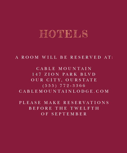 Maroon Bouquet Accommodation Cards