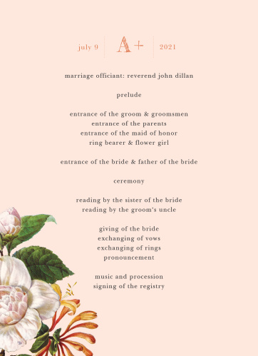 Spring Blush Wedding Programs