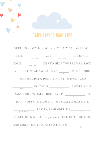 Showered With Love Baby Shower Mad Libs