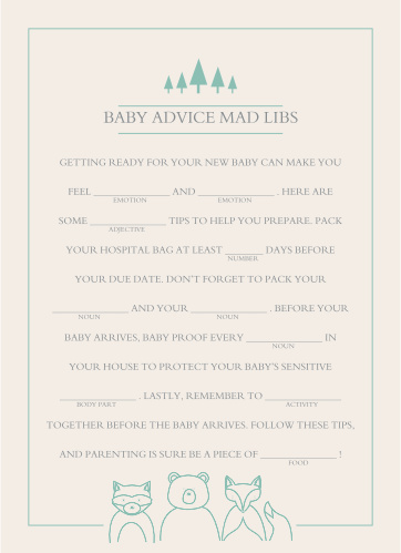 Woodland Outline Baby Shower Mad Libs