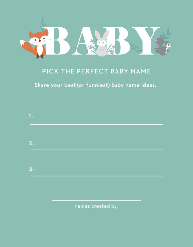 Friendly Forest Baby Name Contest