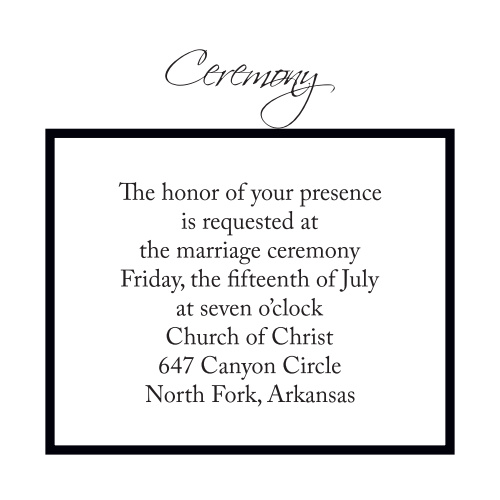 Timeless Classic Ceremony Cards