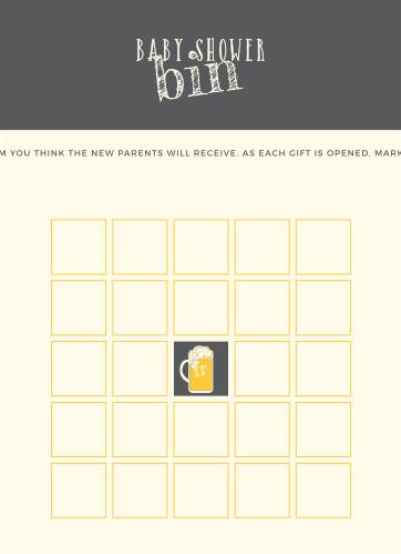 Baby Brewing Baby Shower Bingo