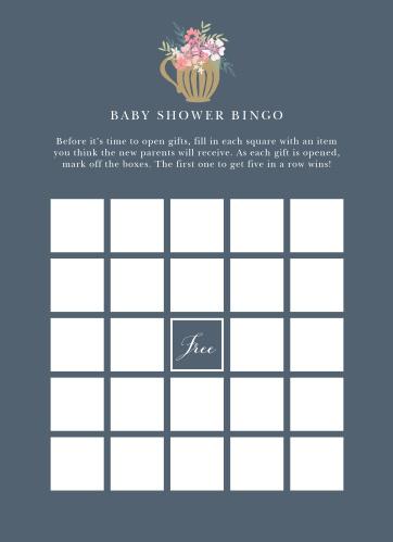 Tasteful Tea Pot Baby Shower Bingo