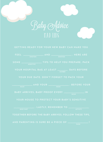 Special Stork Baby Shower Mad Libs