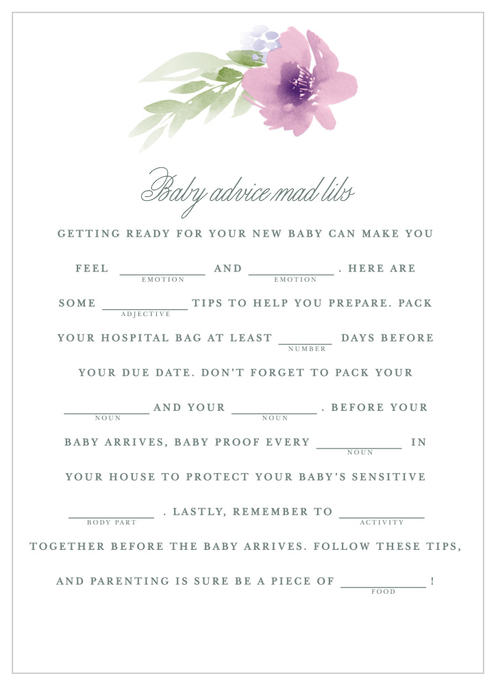 Floral Delight Baby Shower Mad Libs by Basic Invite