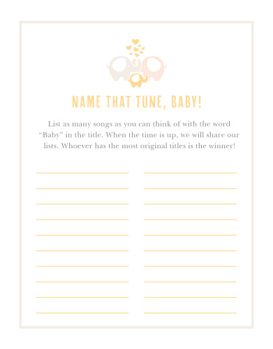 Elephant Baby Shower Games Match Your Color Style Free