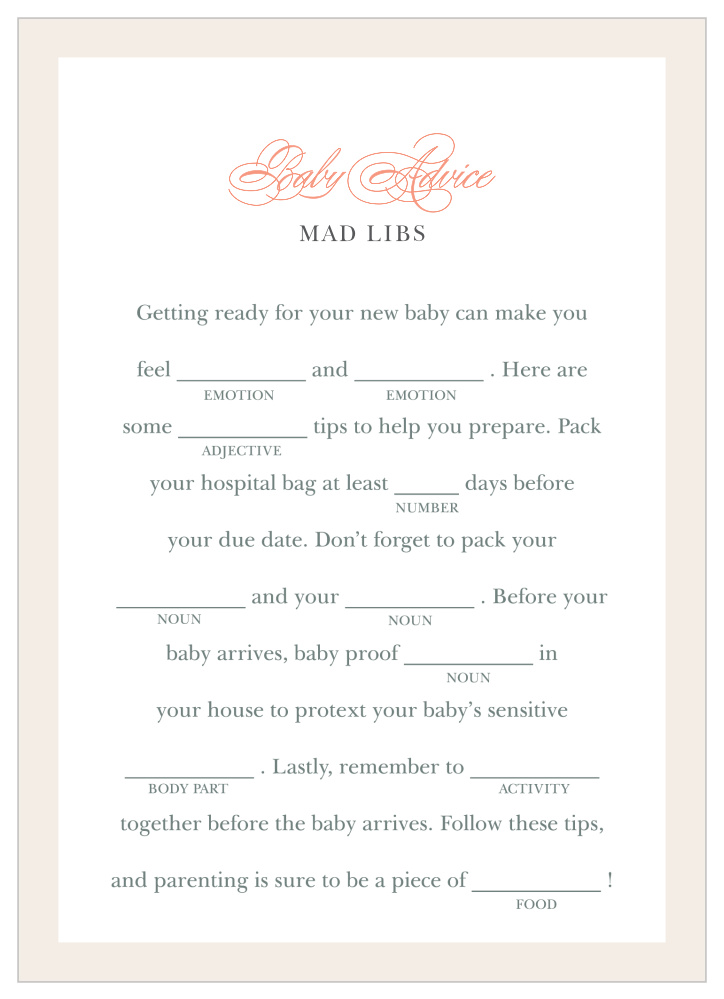 Once Upon A Time Baby Shower Mad Libs by Basic Invite