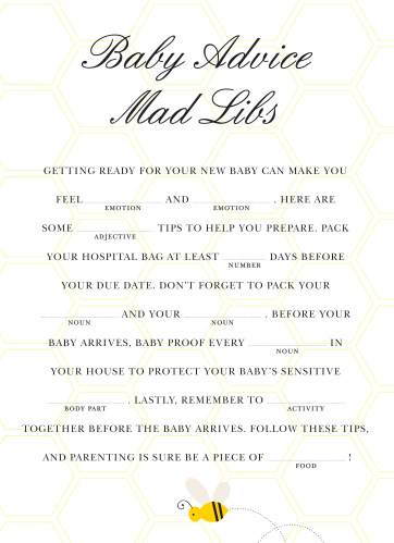 Mommy To Bee Baby Shower Mad Libs