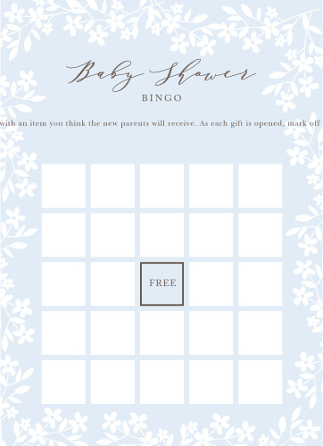 Flower Garden Baby Shower Bingo