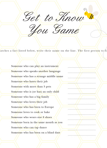 Mommy to Bee Get to Know You Game
