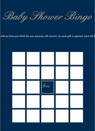 Royal Script Boy Baby Shower Bingo