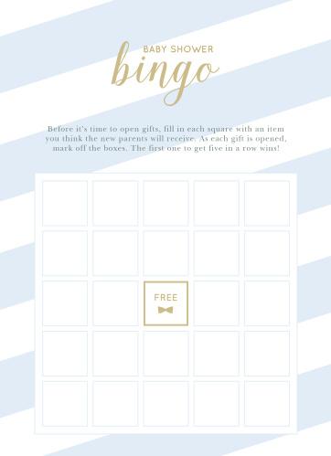 Stunning Stripes Baby Shower Bingo