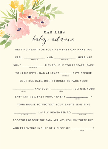 Pretty Poppies Baby Shower Mad Libs