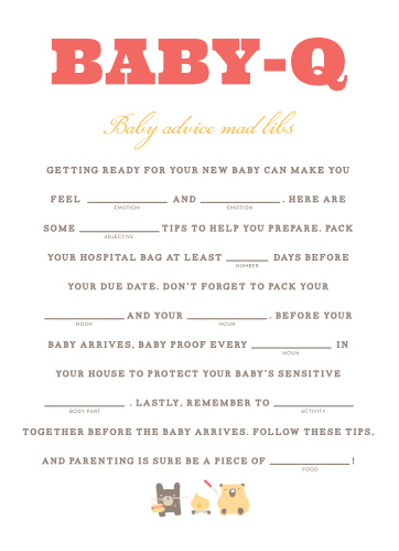 Cozy Cookout Baby Shower Mad Libs