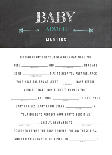 Baby Chalk Baby Shower Mad Libs