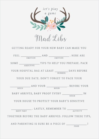 Rustic Bouquet Baby Shower Mad Libs
