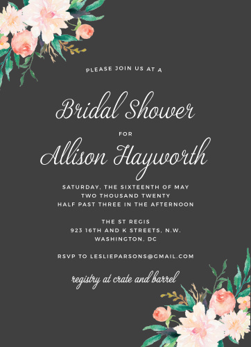 lovely blossoms bridal shower invitations