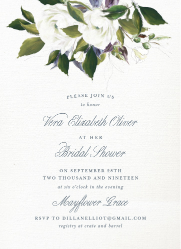 blooming elegance bridal shower invitations