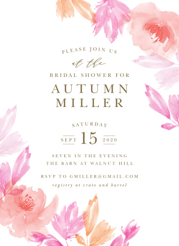 airbrushed rose bridal shower invitations