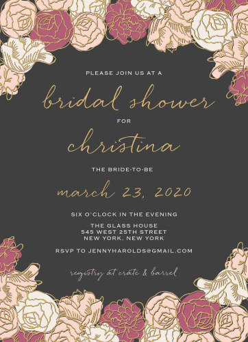 shining blooms bridal shower invitations