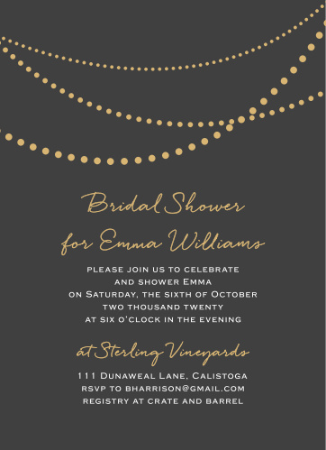 golden pearls bridal shower invitations