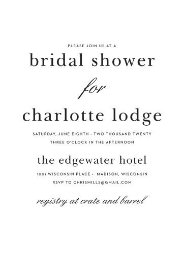 modern typography bridal shower invitations