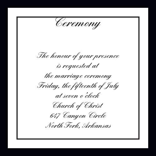 Classic Sophistication Ceremony Cards