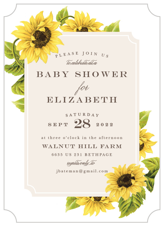 Sunflower Baby Shower Invitations Match Your Color Style