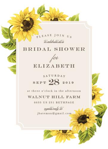 sunflower field bridal shower invitations