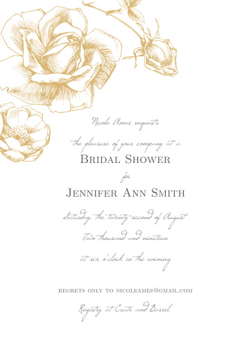 sketched rose bridal shower invitations