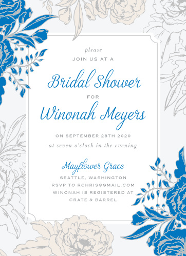 blue contrast bridal shower invitations