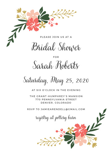 calligraphy flowers bridal shower invitations