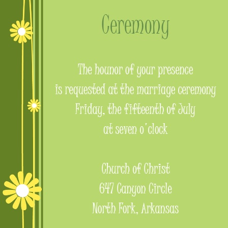 The Falling Daisies Ceremony Cards