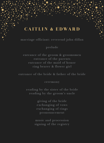 Gothic Halloween Wedding Programs