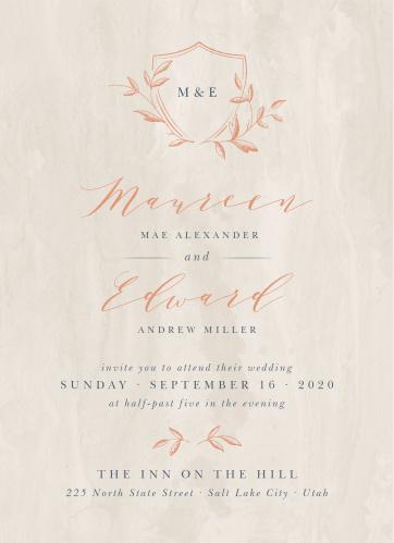 woodland monogram wedding invitations