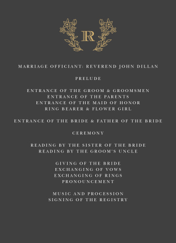 Dark Monogram Wedding Programs